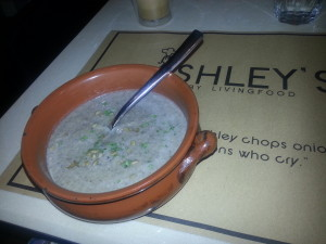 The mushroom soup - creamy and delicious!