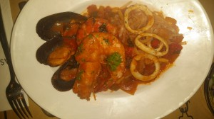 The seafood pasta, with the gluteny pasta substituted with rice noodles! :) They are very accommodating with alterations.
