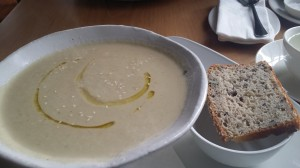 """Birds"" in Cape Town: The mushroom soup came with a slice of gluten-free bread! Without prompting!"