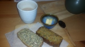 The perfect comfort food - bread with butter and jam, and a hot cup of perfectly made chai!