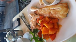 """Circus"" at Gateway Mall in Durban: Simple pan-fried fish and grilled veggies. Easy to come by. Gluten-free."