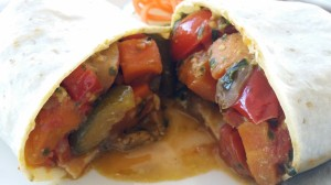 """Kauai"" on Florida Road in Durban: This place actually has a variety of GF offerings. This is the Mediterranean Wrap!"