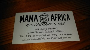 """Mama Africa"" in Cape Town: Popular tourist spot on Long Street. Live (and lively) African music."