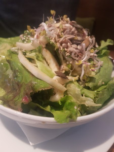 A lovely side salad with beansprouts, sunflower seeds, and a light vinagrette...